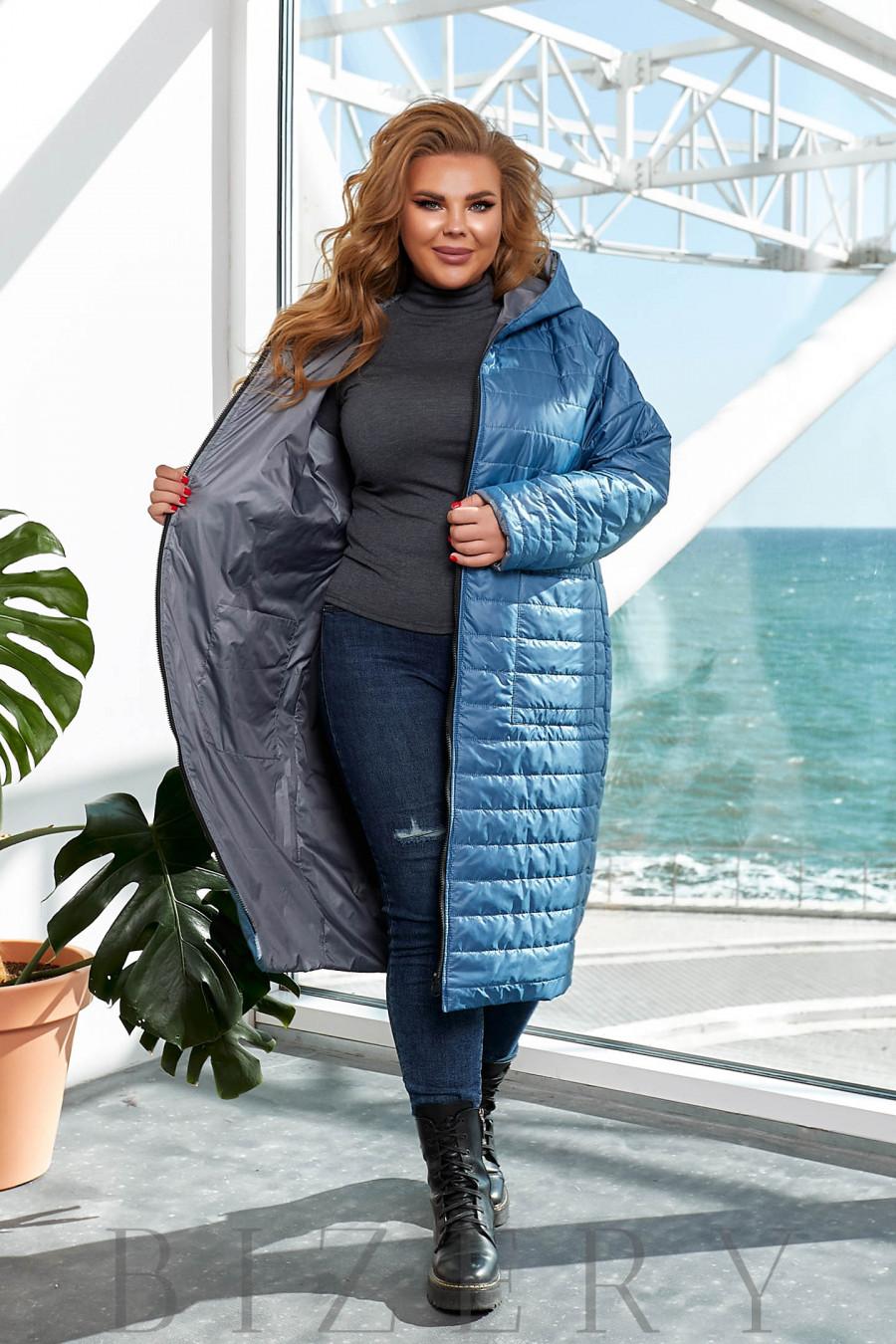 Удлинённая теплая двусторонняя куртка в темно-голубом цвете B1158