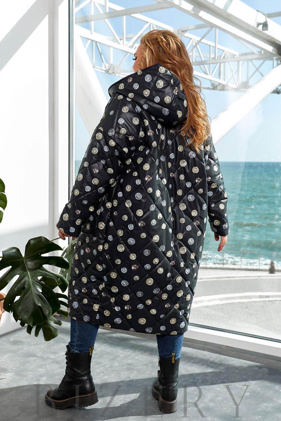 Удлинённая теплая двусторонняя куртка в черном цвете B1159