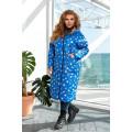 Удлинённая теплая двусторонняя куртка в синем цвете B1160