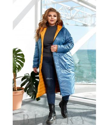 Удлинённая теплая двусторонняя куртка в желтом цвете B1156