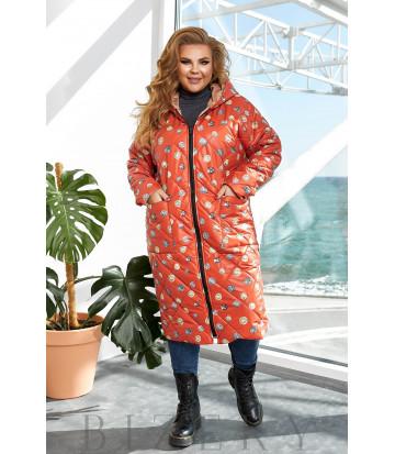 Удлинённая теплая двусторонняя куртка в красном цвете B1157