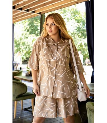 Бежевый женский костюм с шортами и рубашкой B1021