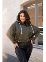 Куртка женская с капюшоном цвет хаки B1106