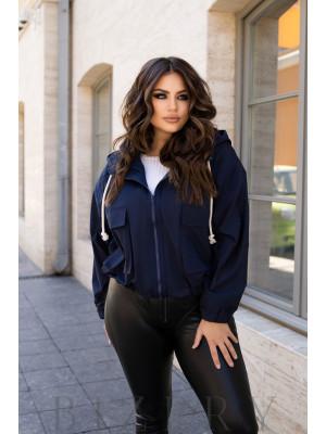Куртка женская с капюшоном цвет темно-синий B1108
