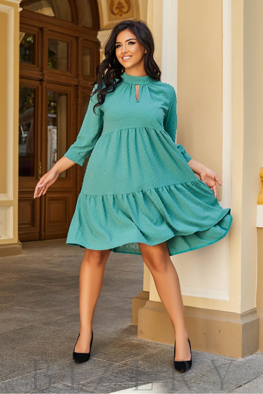 Платье А-силуэта фисташкового цвета B1078