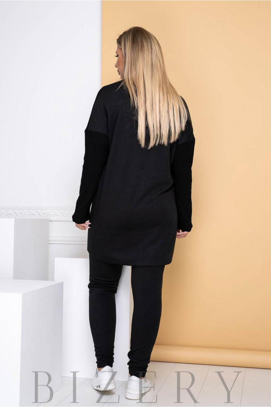 Стильный костюм в стиле спорт цвет черный B1143