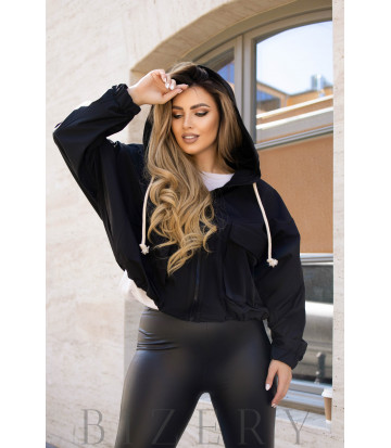 Куртка женская с капюшоном цвет черный B1109