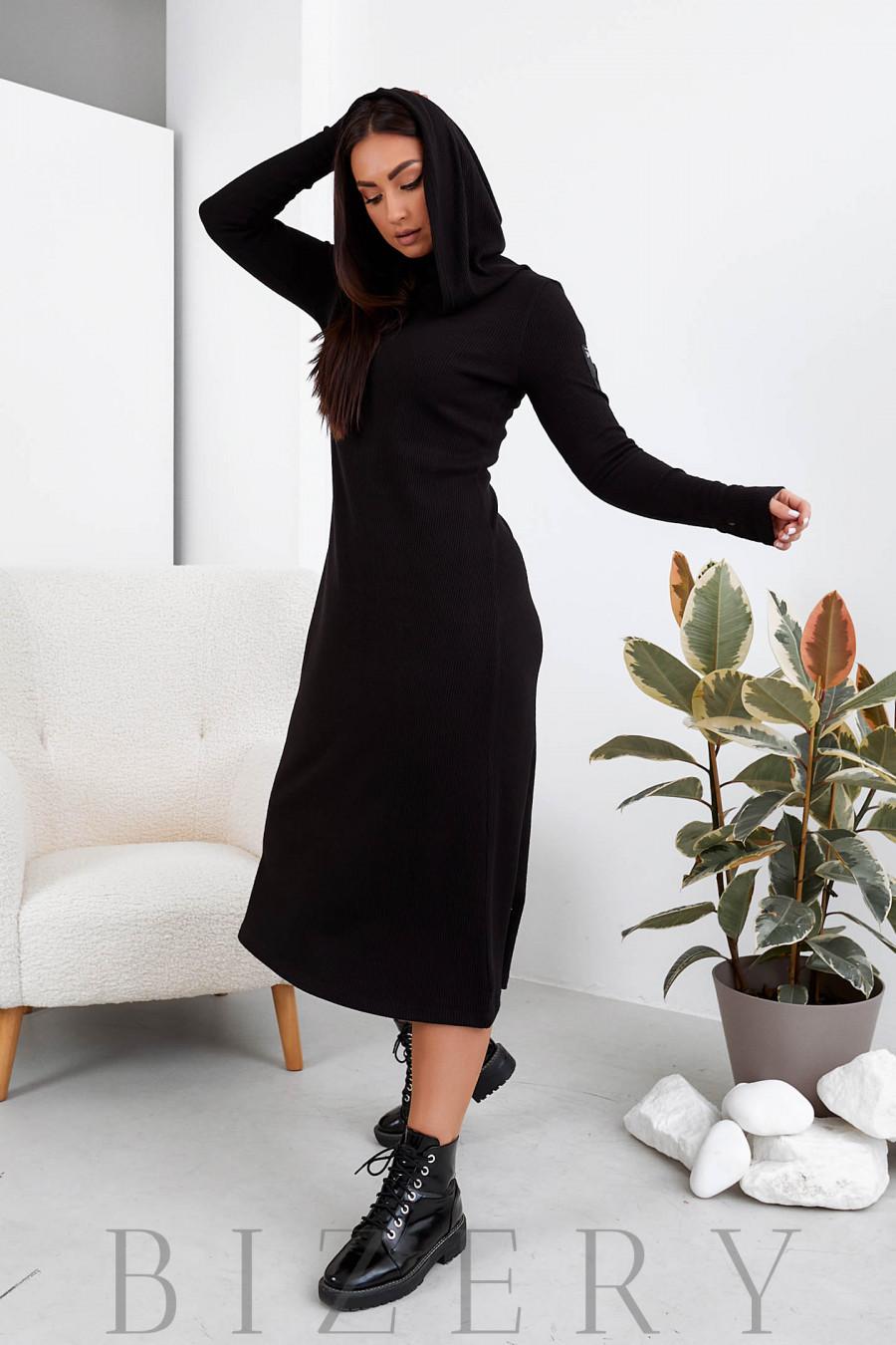 Длинное платье из ангоры в черном цвете B1104