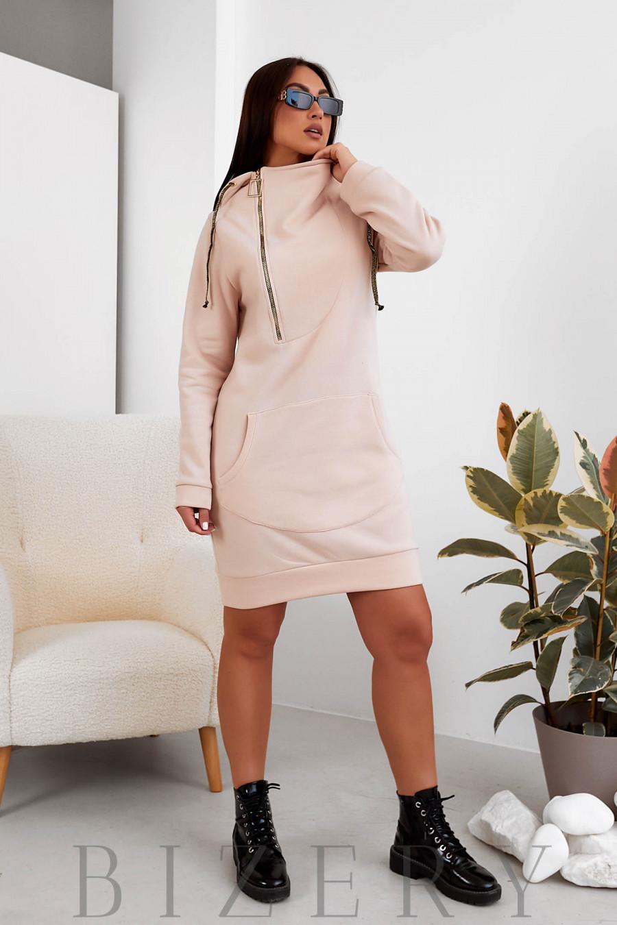 Платье-худи в нежно-бежевом цвете B1100