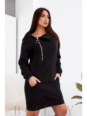 Платье-худи в черном цвете B1102