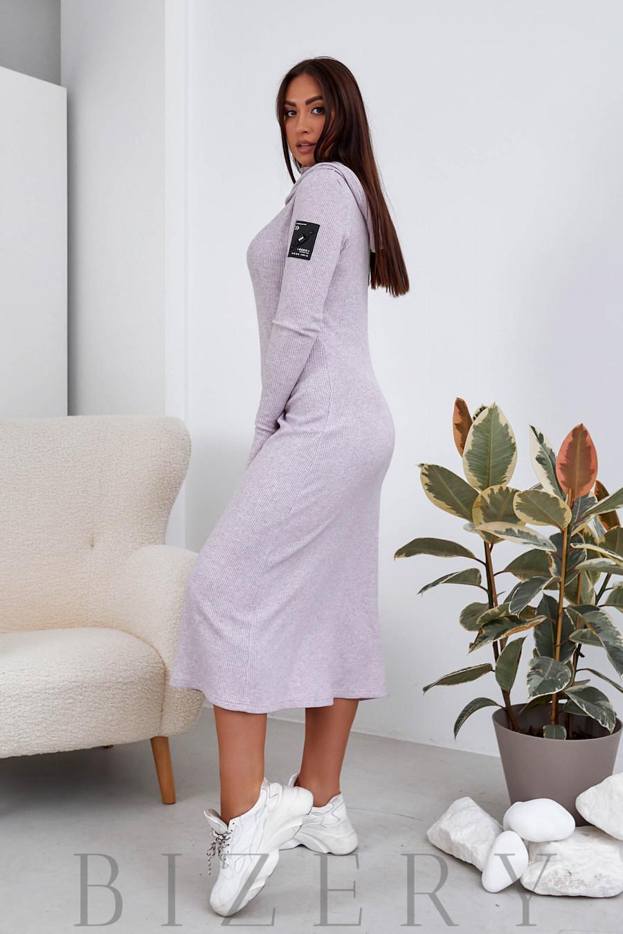 Длинное платье из ангоры в нежно-сиреневом цвете B1103