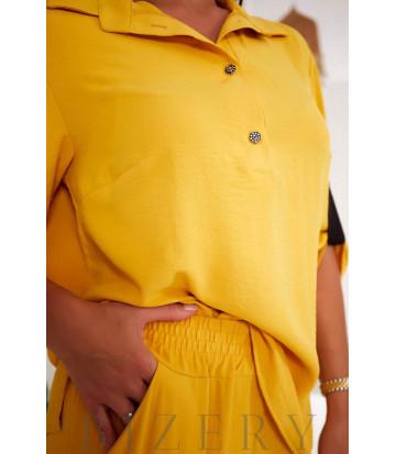 Женский костюм двойка цвет светло-горчичный В1005