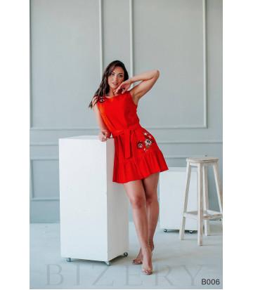 Платье мини красное с вышивкой без рукавов