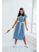 Повседневное платье миди в бело-голубую полоску