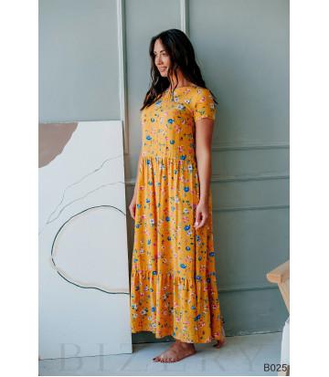 Платье желтое с цветочным принтом макси из штапеля