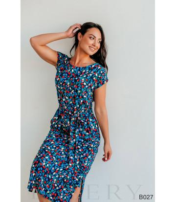 Платье повседневное миди синее с цветочным принтом