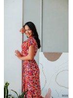 Платье повседневное миди красное с цветочным принтом