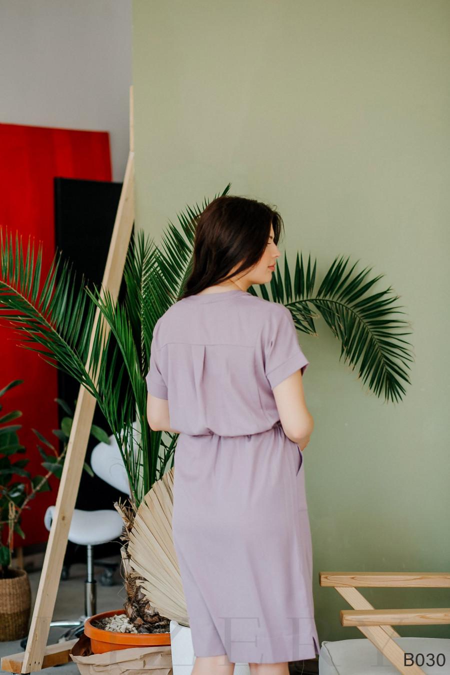 Легкое деловое платье миди с пояском на кулиске