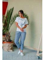 Костюм из льна синий с декоративной вышивкой шнуром
